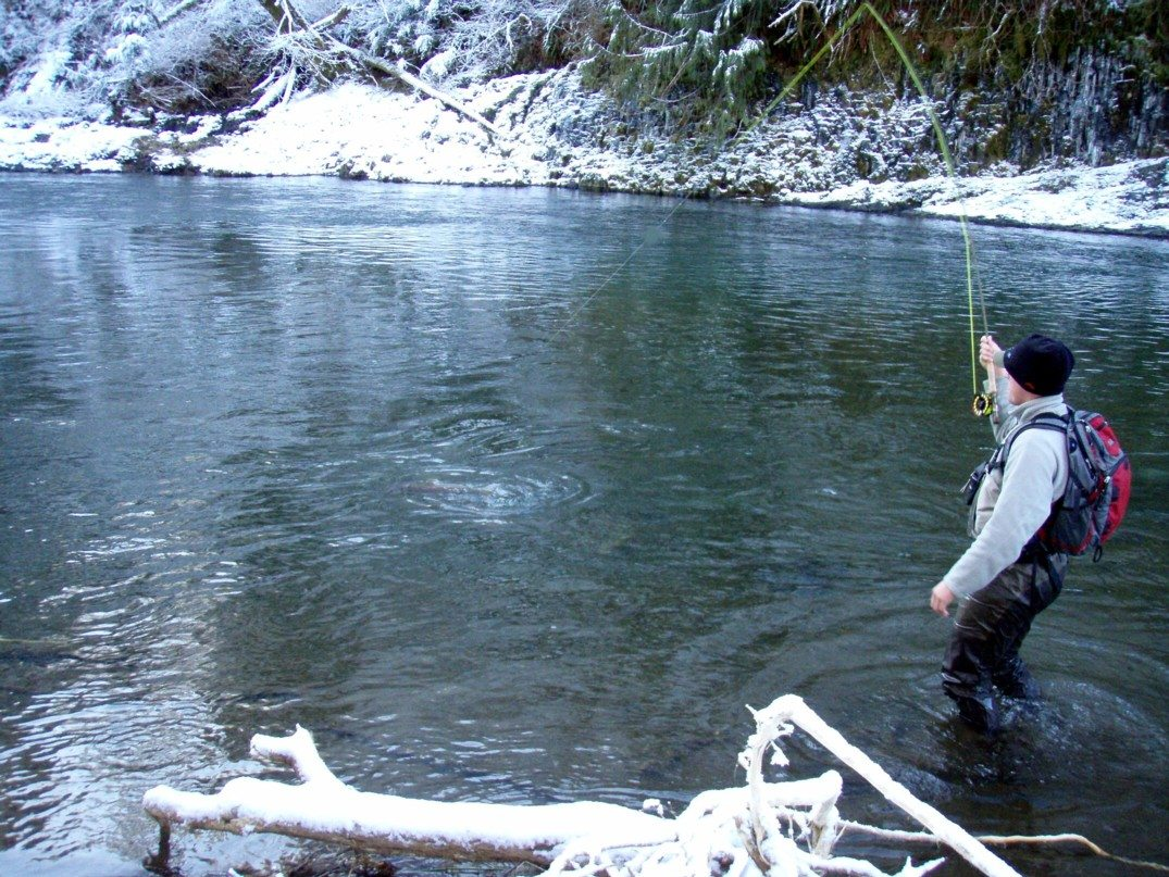 winter river fishing
