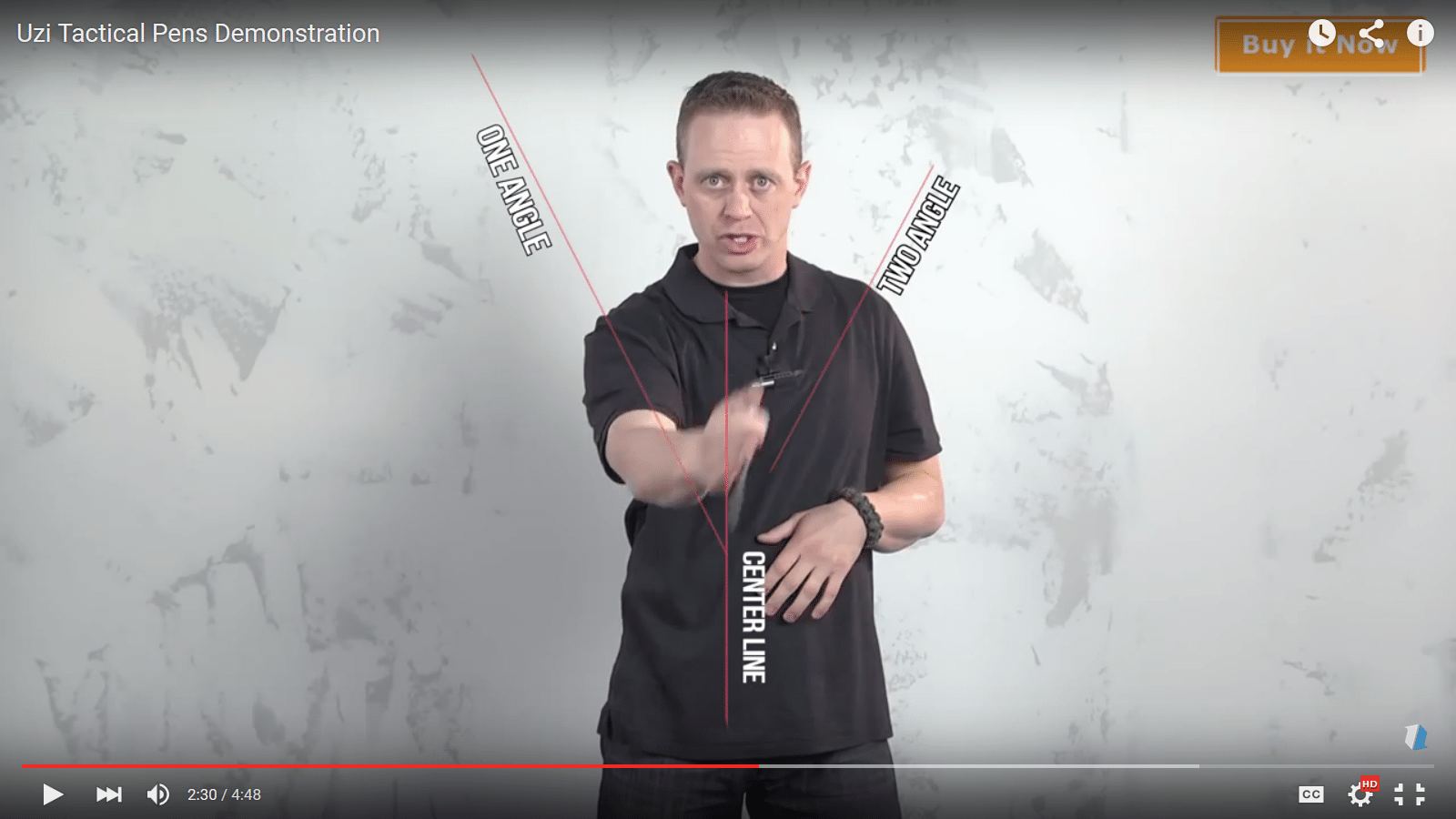 three possible slashing motions with a tactical pen