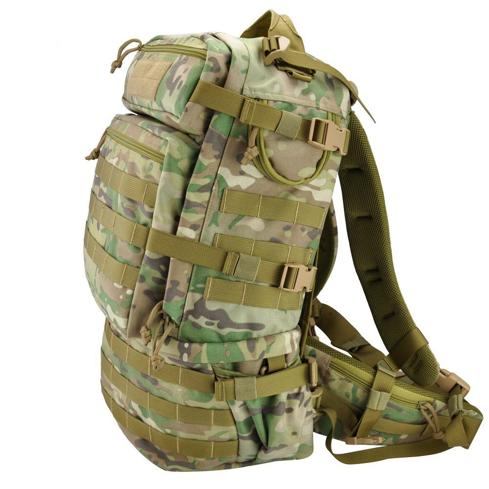 tactical backpack with covered zippers