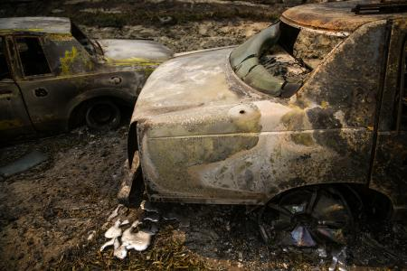 Sorry WikiHow... this is what happens to cars in a wildfire...